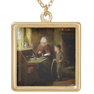 Sealing a Letter, 1890 (oil on panel) Gold Plated Necklace