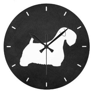 Sealyham Terrier Silhouette Large Clock