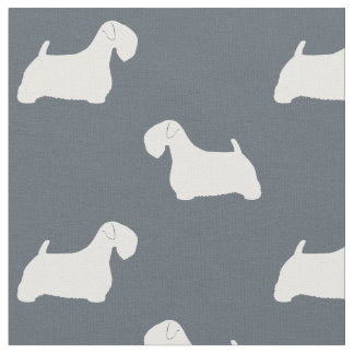 Sealyham Terrier Silhouettes Pattern Fabric