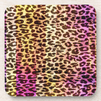 Seamless colorful animal skin texture of leopard coaster