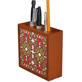Seamless colourful ornament tiles desk organiser