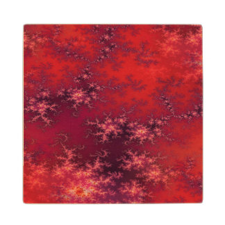 Seamless Fractal Red Wood Coaster