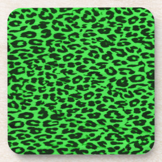 Seamless green animal skin texture of leopard coaster