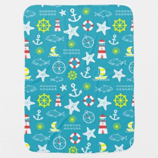 Seamless nautical pattern baby blanket