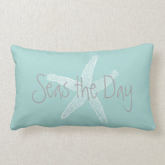 Seas the Day Vintage Starfish Sea Glass Blue Lumbar Cushion