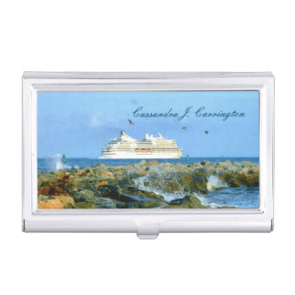 Seascape with Cruise Ship Personalized Business Card Holder