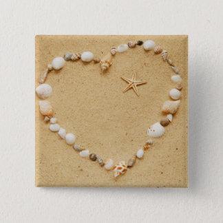 Seashell Heart with Starfish 15 Cm Square Badge