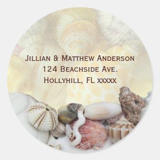 Seashell Sea Urchin Address Label Round Sticker