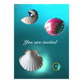 SEASHELLS DAMASK GEM BEACH WEDDING blue aquamarine 14 Cm X 19 Cm Invitation Card