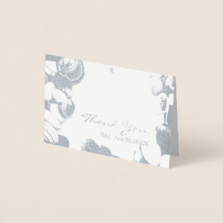 seashells tropical destination Wedding Thank You Foil Card