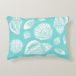 Seashells Turquoise and White Accent Pillow
