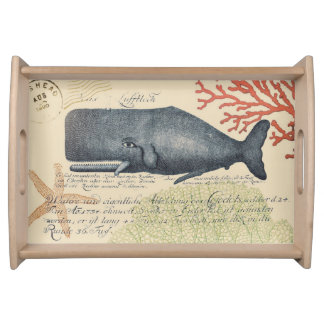 Seaside Blue Whale Collage Serving Tray