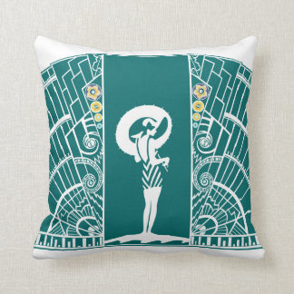 SEASIDE DECO in Turquoise and Yellow Throw Pillow