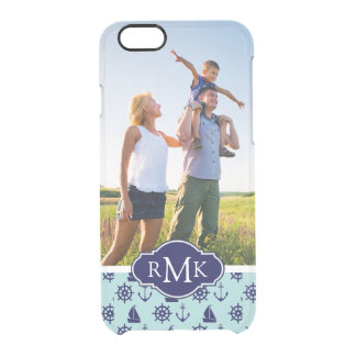 Seaside Pattern| Your Photo & Monogram Clear iPhone 6/6S Case