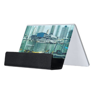Seaside Town Photography Desk Business Card Holder