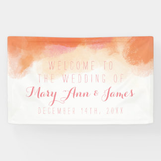 Seaside Wedding Welcome Blush Watercolor Banner