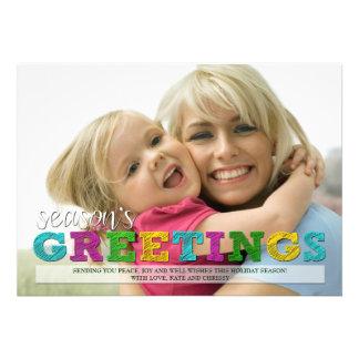 Season s Greetings Colorful Christmas Photo Card
