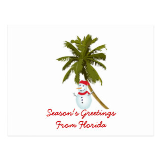 Season s Greetings from Florida Snowman palm tree Post Cards
