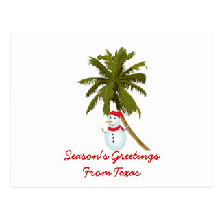 Season s Greetings from Texas Snowman palm tree Postcards