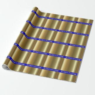 Season's Greetings Gold on Blue Stripes Wrap Paper