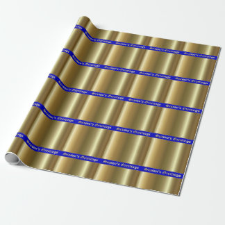 Season's Greetings Gold on Blue Stripes Wrap Paper Wrapping Paper