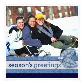 Season s Greetings in Blue Square Photo Card Custom Invite