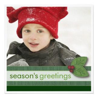 Season s Greetings in Green Square Photo Card Custom Invite