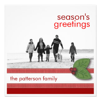 Season s Greetings in Red Square Photo Card Custom Announcements