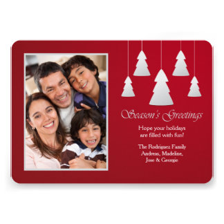 Season s Greetings Red Photo Holiday Card