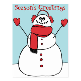 Season s Greetings Snowman Postcard