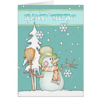 Season s Greetings Snowman - Snowman Greeting Card