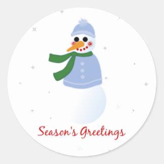 Season s Greetings Snowman Round Sticker