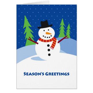 Season s Greetings Snowman Winter Scene Cards