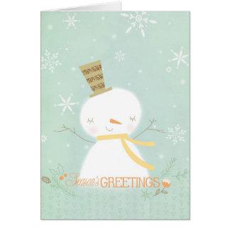 Season s Greetings soft snowman greeting card