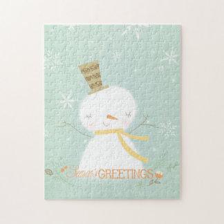 Season s Greetings soft snowman puzzle