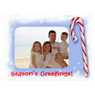 Season s Greetings with a photo and a candy Postcard