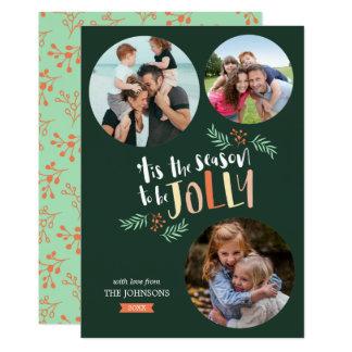 Season to be Jolly 3-photo Holiday Christmas Card