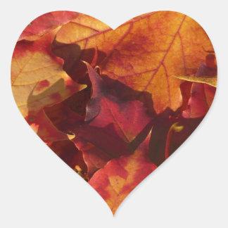 Seasonal Autumn Leaves Heart Stickers