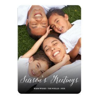 Season's Greeting Script Modern Holiday Photo Card 13 Cm X 18 Cm Invitation Card