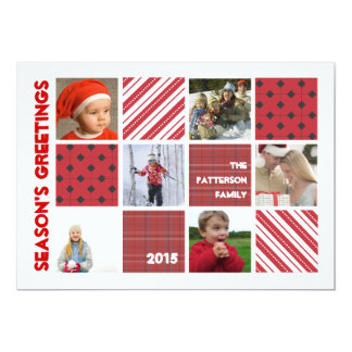 "Season's Greeting Six Photo Holiday Red Card 5"" X 7"" Invitation Card"