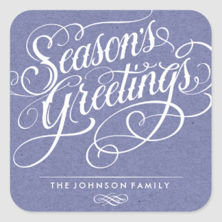 SEASON'S GREETINGS 01 | HOLIDAY GIFT TAG SQUARE STICKER