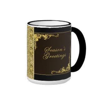 Seasons Greetings Black and Gold Holiday Mug
