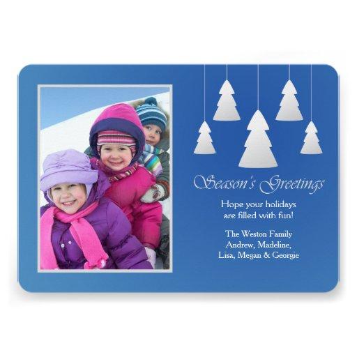Season's Greetings Blue Photo Holiday Card