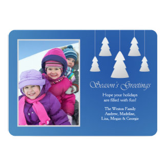 Season's Greetings Blue Photo Holiday Card Custom Invitation