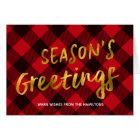 Season's Greetings Buffalo Plaid & Gold Christmas Card