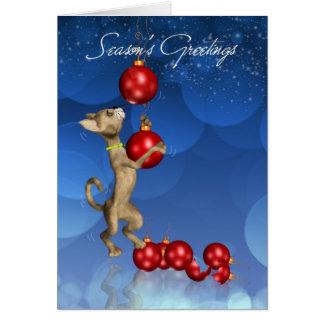 Season's Greetings Cat Swinging Holiday Ornament Greeting Card