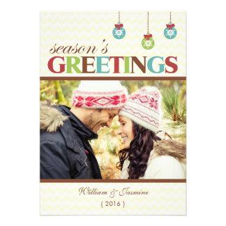 Seasons Greetings Chevron Holiday Flat Card