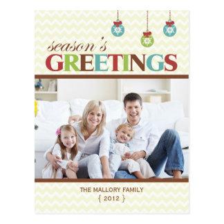 Season's Greetings Chevron Holiday Postcard