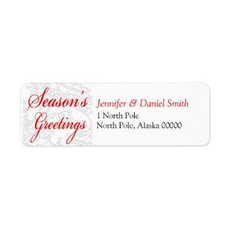 Seasons Greetings Christmas Card Mailing Sticker Return Address Label