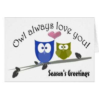 Season's Greetings Christmas Cute Owls Art Card